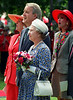 Queen Elizabeth II, accompanied by Gerda Hnatyshyn (L), wife of Govenor General Ray Hnatyshyn, Prime Minister Brian Mulroney and his wife Mila, views the statue of herself on horseback that was unveild on Parliament Hill in Ottawa June 30, 1992. (CP PHOTO/ Fred Chartrand)