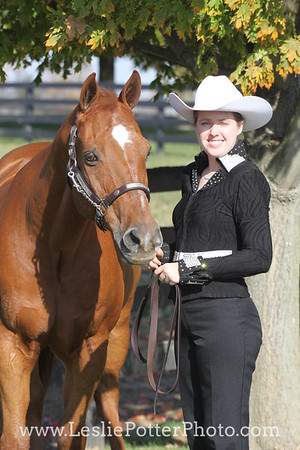 Sorrel American Quarter Horse and Handler Turned Out for Showmanship