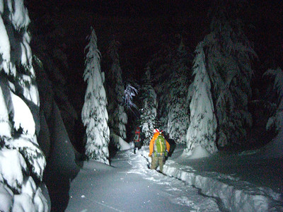 Searchers en route to their midnight assignment near Donner Pass.