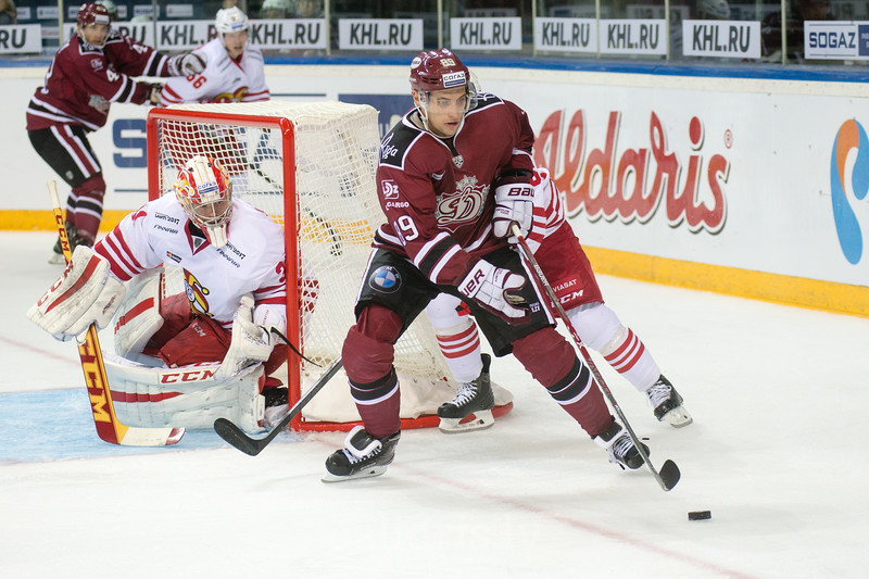 Filipp Toluzakov (89) plays next to the goal in the KHL regular championship game between Dinamo Riga and Jokerit, played on September 13, 2016 in Arena Riga