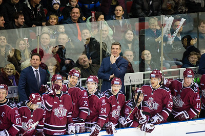 Players and coaches celebrate the goal of Dinamo Riga in the KHL regular championship game between Dinamo Riga and Severstal Cherepovets, played on January 3, 2017 in Arena Riga