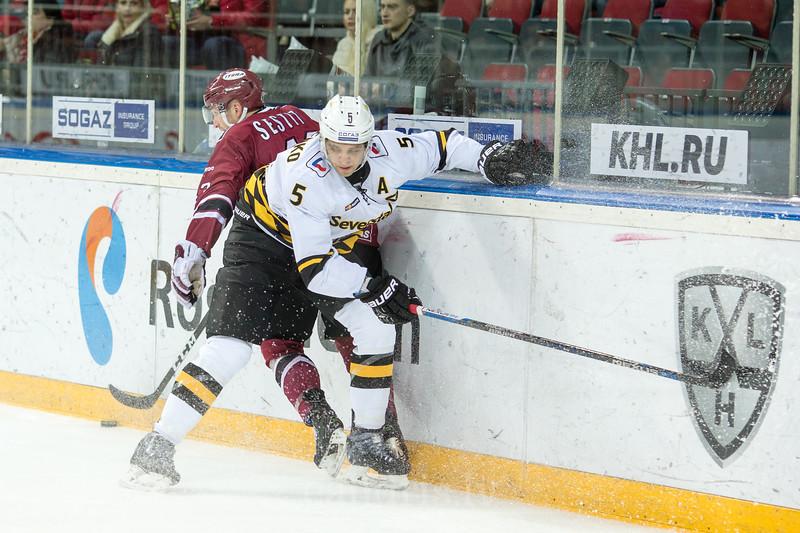 Nikolai Stasenko (5) in the KHL regular championship game between Dinamo Riga and Severstal Cherepovets, played on January 3, 2017 in Arena Riga