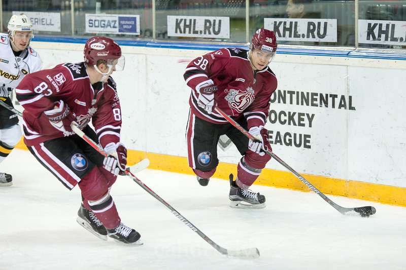Gints Meija (87) and Roberts Lipsbergs (38) in the KHL regular championship game between Dinamo Riga and Severstal Cherepovets, played on January 3, 2017 in Arena Riga