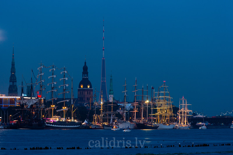 Ships of Tall Ships Race 2013 at night in Riga in front of Old Town