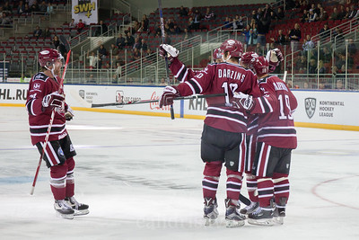 Players of Dinamo Riga celebrate the goal in the KHL regular championship game between Dinamo Riga and Dynamo Moscow, played on October 3, 2016 in Arena Riga