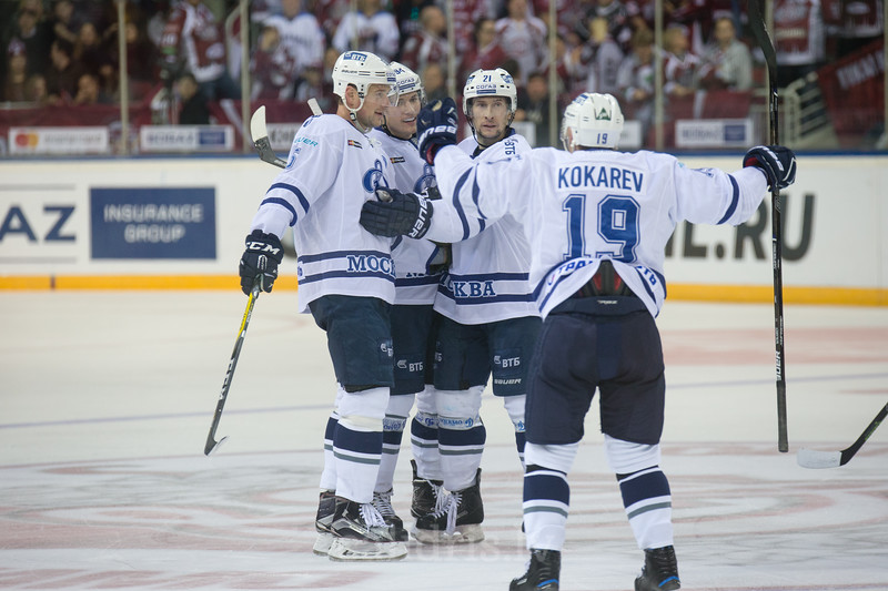 Players of Dynamo Moscow celebrate the goal in the KHL regular championship game between Dinamo Riga and Dynamo Moscow, played on October 3, 2016 in Arena Riga