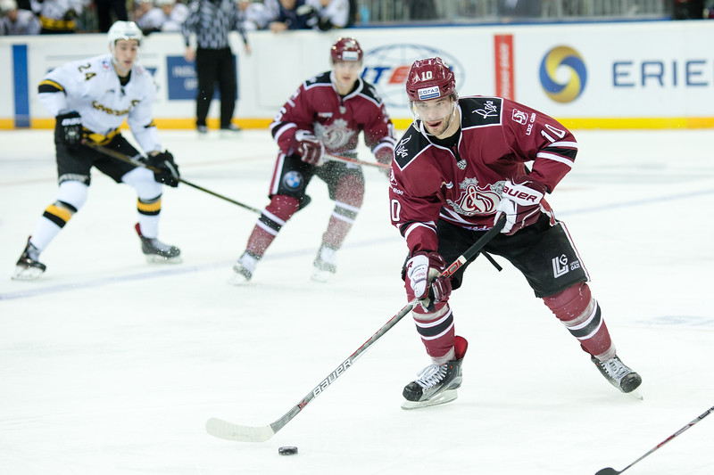 Lauris Darzins (10) in the KHL regular championship game between Dinamo Riga and Severstal Cherepovets, played on January 3, 2017 in Arena Riga