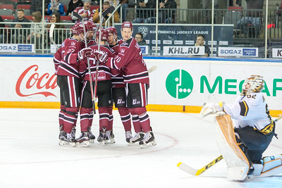 Players of Dinamo Riga celebrate the goal in the KHL regular championship game between Dinamo Riga and Severstal Cherepovets, played on January 3, 2017 in Arena Riga