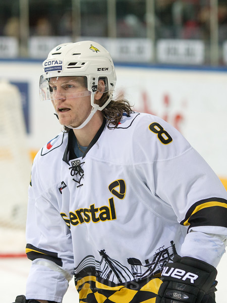 Adam Masuhr (8) in the KHL regular championship game between Dinamo Riga and Severstal Cherepovets, played on January 3, 2017 in Arena Riga