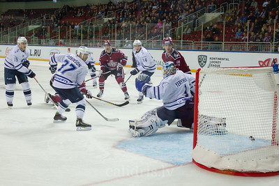 Dinamo Riga scores the goal in the KHL regular championship game between Dinamo Riga and Dynamo Moscow, played on October 3, 2016 in Arena Riga
