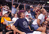 Astros fans Ryan Kelly, 15, front left,and Lindsay Floyd, 17, front right, both of Houston, celebrate a Jeff Bagwell homerun along with the rest of the section directly behind homeplate during the bottom of the eighth inning against the St Louis Cardinals Saturday at Minute Maid Park in Houston.<br /> PHOTO/SCOTT ESLINGER   OCT 16
