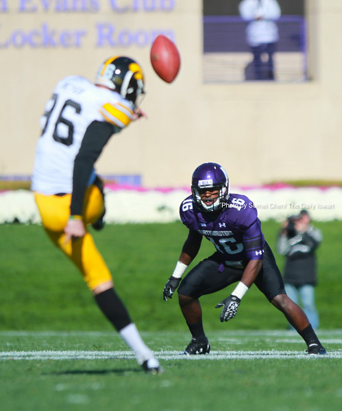 Iowa kicker Mike Meyers kicks the ball off during the game against Northwestern at Ryan Field, in Evanston, Illinois on Saturday, Octorber 27, 2012. Northwestern Wildcats defeated Iowa Hawkeyes, 28-17. (The Daily Iowan/Sumei Chen)