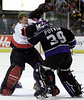 Ottawa Senators' goaltender Jani Hurme (35) fights with Los Angeles Kings' goaltender Felix Potvin (39) when an all out brawl started in the second period of NHL hockey between the Ottawa Senators and the Los Angeles Kings in Ottawa, Thursday, December 20, 2001.(CP PHOTO/Fred Chartrand)