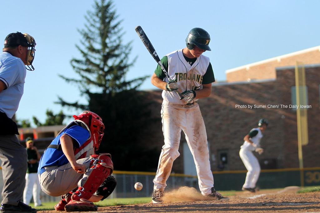 Iowa City, IA - Reid Bonner bats for Iowa City West High against Cedar Rapids Washington. West High won the game 9-2. (The Daily Iowan/Sumei Chen)