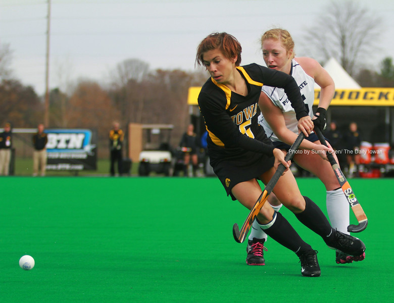 Iowa's Sarah Drake runs the ball against Penn State during the Big 10 Tournament at Grant Field in Iowa City, Iowa on Friday November 2, 2012. Penn State defeated Iowa, 3-2. (The Daily Iowan/Sumei Chen)
