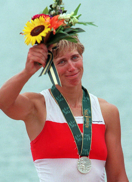 (CPAX 111)Atlanta, July 27--EMOTION--Canadian rowing silver medalist Silken Laumann shows some emotion after placing second in the women's single sculls at the Atlanta Olympic Games, Saturday. (CP PHOTO) 1996 (stf-Fred Chartrand)fxc