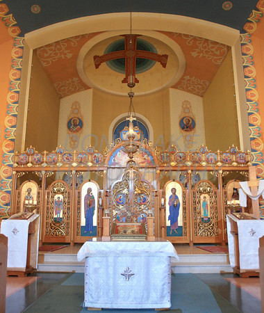 The tetrapod, icon screen separating priest from congregation, and the dome over the alter at St. Josaphat Ukrainian Catholic Church in Bethlehem, PA. photo/Don Blake Photography