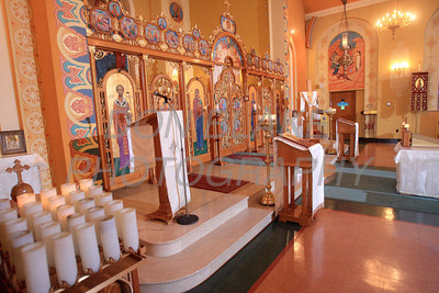 The icon screen separating priest from congregation at St. Josaphat Ukrainian Catholic Church in Bethlehem, PA. photo/Don Blake Photography