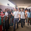 Monrovia, Liberia October 10, 2017 -  Jason Carter and madame Samba-Panza make their way through a hallway at a polling station on election day.