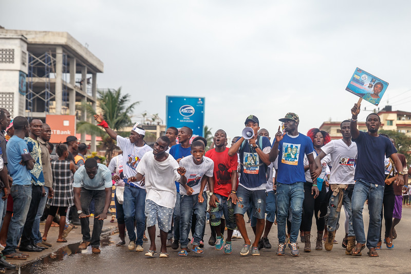 Monrovia, Liberia October 6, 2017 - Supporters parade through the streets in the days leading up to the election.