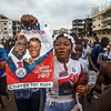 Monrovia, Liberia October 6, 2017 -  Street scene with voters walking in support of their candidate before the 2017 election.