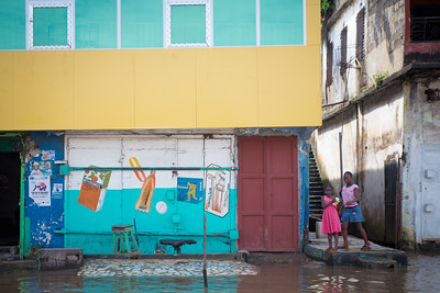 Monrovia, Liberia October 10, 2017 -  Rain water floods low lying streets and neighborhoods.