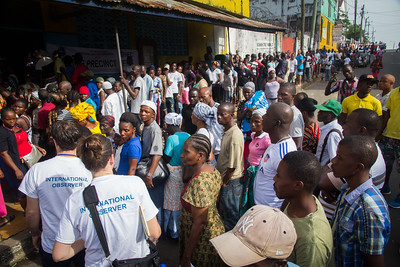 Monrovia, Liberia October 10, 2017 - Carter Center observers arrive at a polling station on election day.