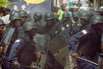 Monrovia Liberia October 9, 2017 - Police rehearse crowd control measures prior to the 2017 presidential election.