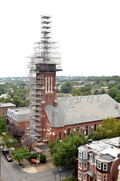 Construction workers repair the Sacred Heart Oratory steeple, Wednesday, August 15, 2012. www.DonBlakePhotography.com