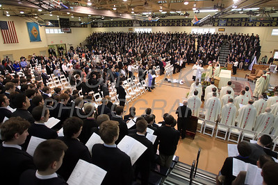 Mike Vogt prostrates him self as all in attendance pray during his Ordination in the Gym of Salesianum School, Wilmington, Del., Friday, January 27, 2012. Mike Vogt ask Bishop Malooly for permission to have his Ordination in the gym of Salesianum School where he is a teacher. photo/Don Blake Photography.com