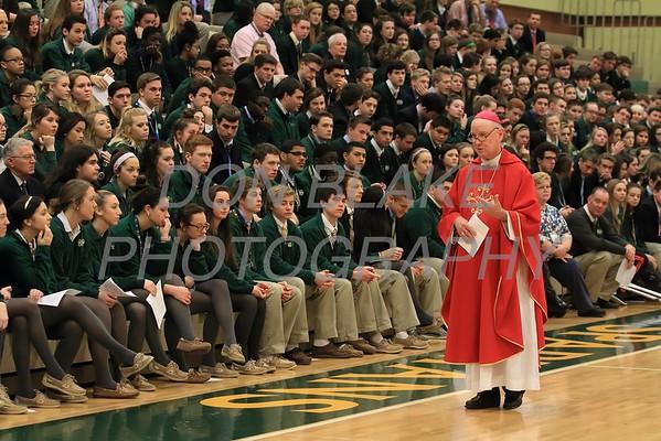 Bishop Malooly celebrates mass at St. Mark's during his visit for Catholic Schools Week, Wednesday, February 3, 2015. wwwDonBlakePhotography.com