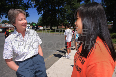 Kathy Flood talks with Jenn Widmayer an 8th grader at Good Shepherd School, Perryville, Md. Kathy Flood will be entering religious life in a few weeks. www.DonBlakePhotography.com