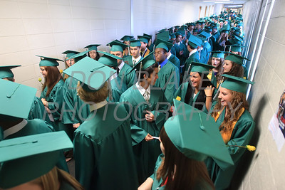 St. Mark's graduates line up in the hallway before the commencement ceremony at St. Mark's High School, Saturday, June 2, 2012. photo/ www.DonBlakePhotography.com