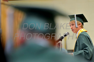 St. Mark's graduate Matthew Conrad delivers the closing remarks during the commencement ceremony at St. Mark's High School, Saturday, June 2, 2012. photo/ www.DonBlakePhotography.com