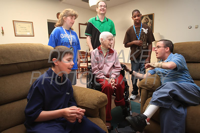 Sr. Jeannette Murray with students (Back L to R) Julia, David, and Xavier (Front L to R) Carrie and Skip from the Benedictine School at St. Gertrude's Monastery in Ridgely, Maryland. photo/ www.DonBlakePhotography.com