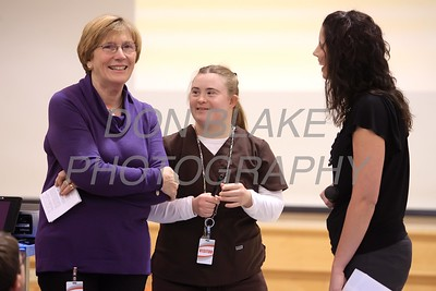 Mary Ann Nolan, Elizabeth Nolan, and Erin McNesby talk before Elizabeth's presentation to Christ the Teacher students about her life with Down Syndrome. photo/ www.DonBlakePhotography.com