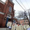 Priests process into the Cathedral of Saint Peter for the Opening Mass of the 150th Anniversary of the Dioceses of Wilmington. wwwDonBlakePhotography.com