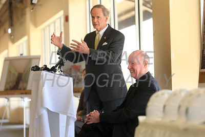 Sen. Tom Carper and Bishop Malooly share a laugh during a press conference to announce the new space for St. Francis Healthcare Life program at the Shipyard Center on the Riverfront, Monday, March 26, 2012 photo/ www.DonBlakePhotography.com