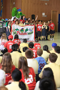 The Phillie Phanatic and Kate Julian's 2nd grade class have their picture taken at Our Lady of Fatima School, Friday, March 23, 2012. photo/ www.DonBlakePhotography.com