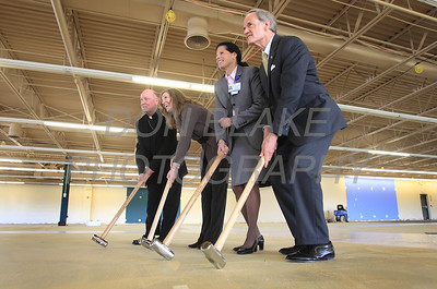Bishop Malooly, Rita Landgraf, Julie Hester, and Sen. Tom Carper put their ceremonial sledgehammer to the ground during a press conference to announce the new space for St. Francis Healthcare Life program at the Shipyard Center on the Riverfront, Monday, March 26, 2012 photo/ www.DonBlakePhotography.com