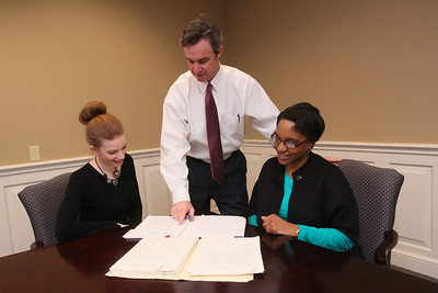 Mark Reardon a lawyer at Eckert Seamans with paralegals Jennifer West (left) and Susan Brown. wwwDonBlakePhotography.com