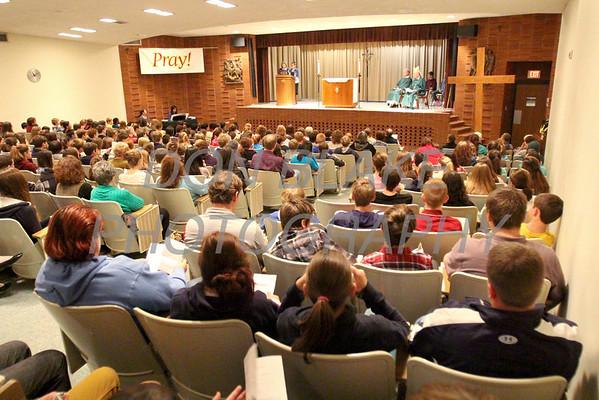 Bishop Malooly celebrates mass with the kids during CHAOS at Padua Academy, Sunday, October 27, 2013. wwwDonBlakePhotography.com