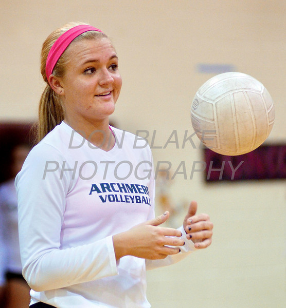 Cara Eppes, setter for the Archmere Academy volleyball team warms-up before the Concord game, Monday, October 31, 2011. photo/Don Blake Photography