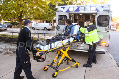 Padua student Danielle Delgado 12th grade is loaded into an ambulance by emergency workers during a Mock Disaster at Padua Academy. photo/www.DonBlakePhotography.com