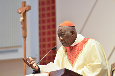 Cardinal Tumi delivers his homily during mass at St. Elizabeth Ann Seton, Sunday, October 28, 2012. photo/www.DonBlakePhotography.com