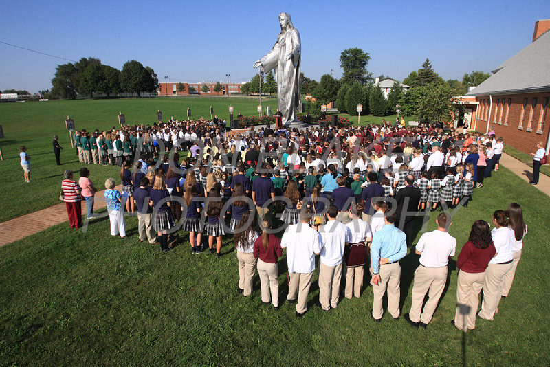 Catholic school students from around the Diocese gather for the Rosary Rally at the Our Lady Queen of Peace statue on the grounds of Holy Spirit Church in New Castle, Friday, October 5, 2012. photo/ www.DonBlakePhotography.com
