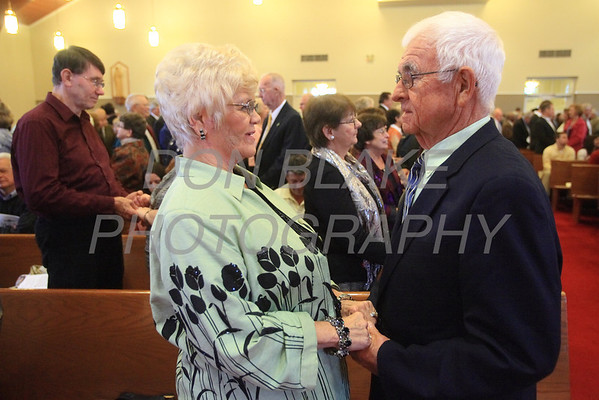 James and Marie Keating from St. John the Beloved Parish who are celebrating their 50th renew their vows during the Wedding Anniversary Mass at St. John the Beloved, Sunday, October 7, 2012. photo/ www.DonBlakePhotography.com