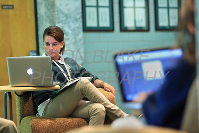 Archmere Academy 12th grade student Tara Courtney works on her school issued MacBook Pro in the student lounge at Archmere Academy. photo/Don Blake Photography