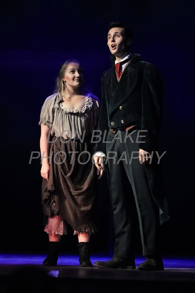 Catherine Enslen from Ursuline who plays Eponine and Frankie Frabizzio who plays arius Pontmercy perform during Salesianum Theater production of Les Miserables, Friday, March 2, 2018. wwwDonBlakePhotography
