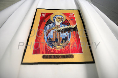 Bishop Malooly will be wearing vestments with the icon of Our Mother of Sorrows with the World Trade Center Towers and the planes for September 11 masses. The Dialog/Don Blake